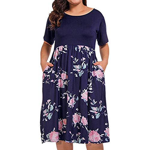 - Women's Plus Size O-Neck Casual Short Sleeve Floral Maxi Knee-Length Dresses with Pockets Navy