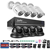 SANNCE 8CH 1080N DVR Recorder Home Security Systems and (8) 1280TVL Outdoor/Indoor Weatherproof Superior Night Vision CCTV Cameras with Remote Access and Motion Detection