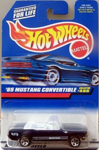 1965 Ford Mustang Convertible - Mattel Hot Wheels 1998 1:64 Scale Black 1965 Ford Mustang Convertible Die Cast Car Collector #455