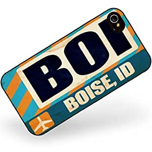 Rubber Case for iphone 4 4s Airportcode BOI Boise, ID - Neonblond