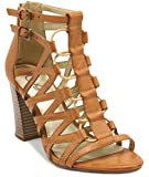 Sugar Women's Estes Strappy Stylish Heeled Sandal Buckles Elastic Bungee Center 7.5 Natural