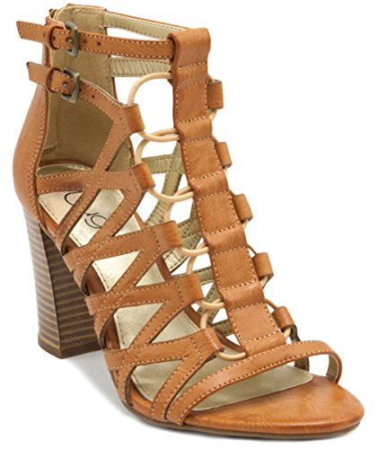 Sugar Women's Estes Strappy Stylish Heeled Sandal Buckles Elastic Bungee Center 7.5 Natural by Sugar