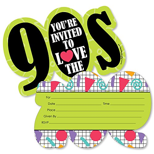 90's Throwback - Shaped Fill-in Invitations - 1990s Party Invitation Cards with Envelopes - Set of 12 for $<!--$12.99-->