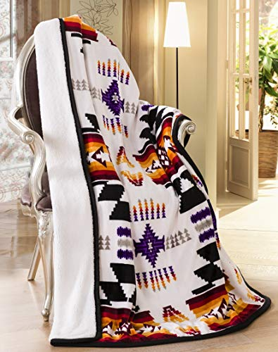 (Southwest Design (Navajo Print) Sherpa Lined Throw 16112 White)