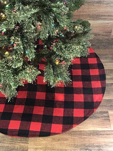 Celebrate A Holiday Christmas Tree Skirt - Premium Quality 48 Inch Diameter Buffalo Plaid Design - 3 Inch Red and Black Buffalo Checks for a Warm Traditional Look - Double Layered Machine Wash and Dry (Trees Black Box Christmas)