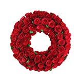 Northlight 12'' Red Wooden Rose Floral Artificial Valentine's Day Wreath