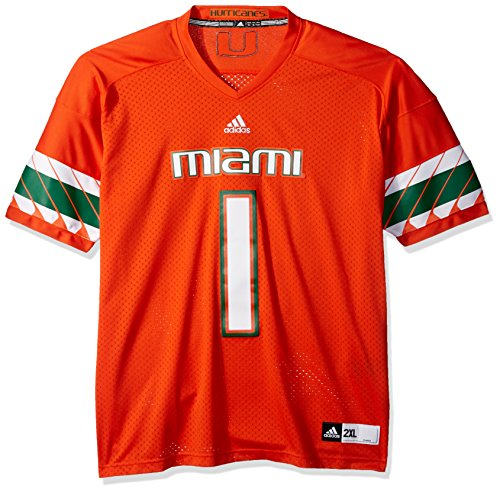 adidas NCAA Miami Hurricanes Men's Premier Football Jersey, Orange, Large -