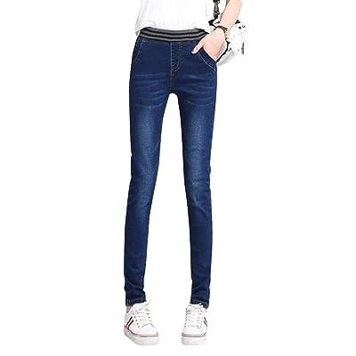 ADELINA Pantalones De Mezclilla Slim Fit De con Mujer Ropa Pantalones De Cintura Alta Elásticos Jegging Pantalones De Lápiz De Mezclilla Delanteros (Color : Dunkelblau, Size : 34(W=76CM)): Ropa y accesorios