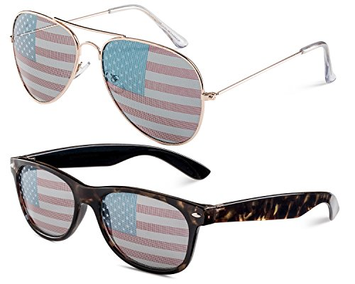 USA Gold Aviator and Havana Wayfarer Set of - Fake Ray Aviators Bans