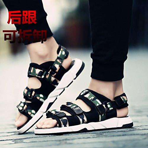 Xing Lin Sandalias De Cuero La Nueva Tendencia De Verano Sandalias De Hombres A Los Campos En El Verano Sandalias Zapatos De Hombre Casual Cool Beach Arrastre Y Piscina ,43, (El Hombre Y Dios) Camufla