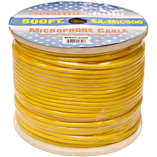 Seismic Audio - SA-MIC500Yellow - 500 Feet of Yellow Microphone Cable on a Spool 3 Conductor PA/DJ Shielded Mic Cable - 500 Ft Spool