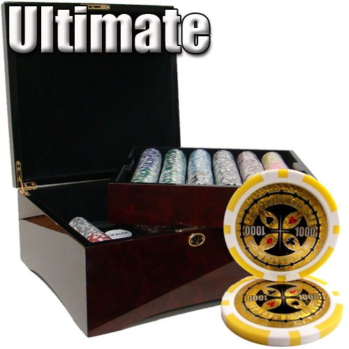 Gram Sets Poker Chips - 750 Ct Ultimate 14 Gram Poker Chip Set in Mahogany Wooden Case w/ High Gloss Finish - Free Dealer Button and Cards