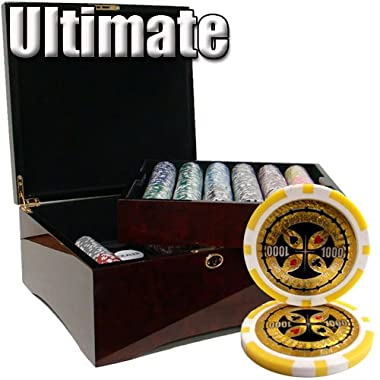 750 Ct Ultimate 14 Gram Poker Chip Set in Mahogany Wooden Case w/ High Gloss Finish - Free Dealer Button and Cards