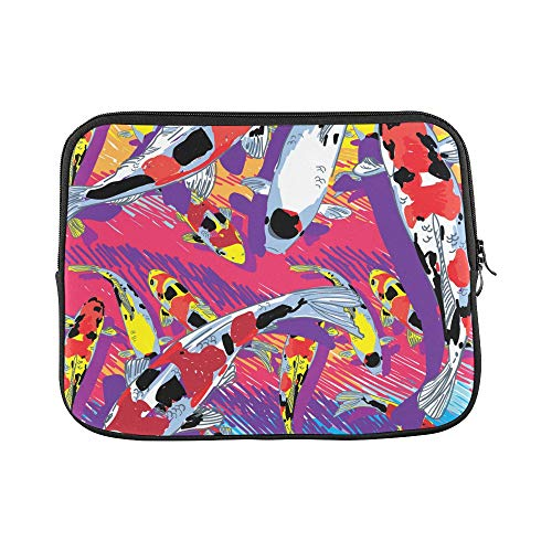 Design Custom Fish Pond Hand Drawn Squid Goldfish Sleeve Soft Laptop Case Bag Pouch Skin for MacBook Air 11