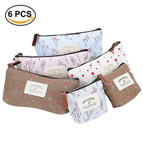 Box No Coins - 6 PCS Pencil Bag Pen Case Flower Floral Canvas Pencil Pen Case Canvas Change Coin Purse Makeup Bag Wallet Bag