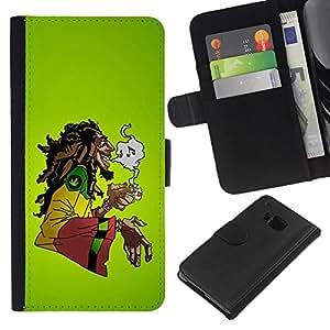 """Be-Star la tarjeta de Cr¨¦dito Slots PU Funda de cuero Monedero caso cubierta de piel Para HTC One M9 ( Cannabis Weed c¨¢?amo Jamaica Bob M¨²sica"""" )"""