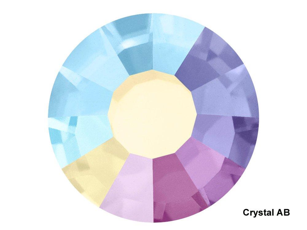 Preciosa Genuine Czech Crystals, 1440pcs in size ss16 (4 mm), Crystal AB, Viva Chaton Roses (Viva12 MC Rhinestone Flatbacks), clear coated with Aurora Borealis, 16ss
