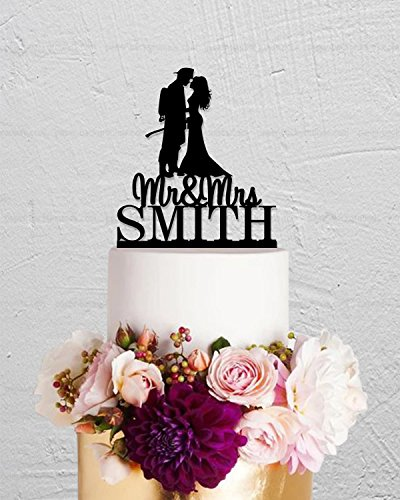 Firefighter Cake Topper (Wedding Cake Topper Fire Fighter Custom Bride And Groom Mr And Mrs With Last Name Cake Topper For Wedding Anniversary Gifts Wedding Party Favors Cake)