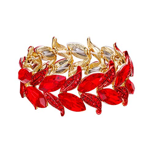 BriLove Wedding Bridal Bracelet for Women Marquise-Shape Leaf Stretch Bangle Bracelet Ruby Color Gold-Toned