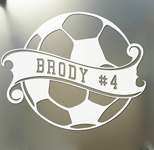 Soccer Ball Sticker Custom Name Decal car Window Sticker Pick Your Color mom!, Die Cut Vinyl Decal for Windows, Cars, Trucks, Tool Boxes, laptops, MacBook - virtually Any Hard, Smooth Surface (Soccer Window Decal)