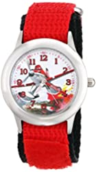 "Disney Kids' W001631 ""Time Teacher"" Planes Dusty Stainless Steel Watch with Red Strap"