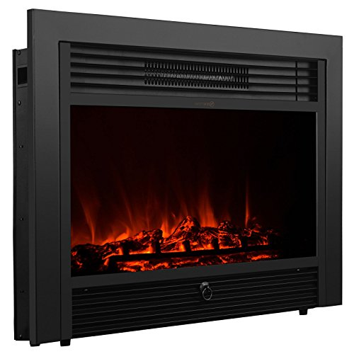 "New 28.5"" Embedded Tense Fireplace Insert Heater w/ Remote Glass View Log Flame"