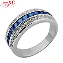 Cherryn Jewelry Blue Semi-circle Women Fashion Jewelry Size6/7/8/9/10 Zircon Finger Ring 10KT White Gold Filled Wedding Ring RW0895
