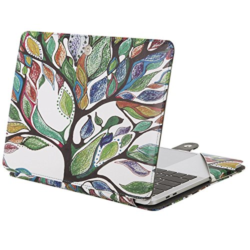 Mosiso PU Leather Case Only for Newest 2017/2016 MacBook Pro 13 Inch with/without Touch Bar A1706/A1708, Book Cover Stand Folio Sleeve with Clear Straps at Top Corners, Love Tree