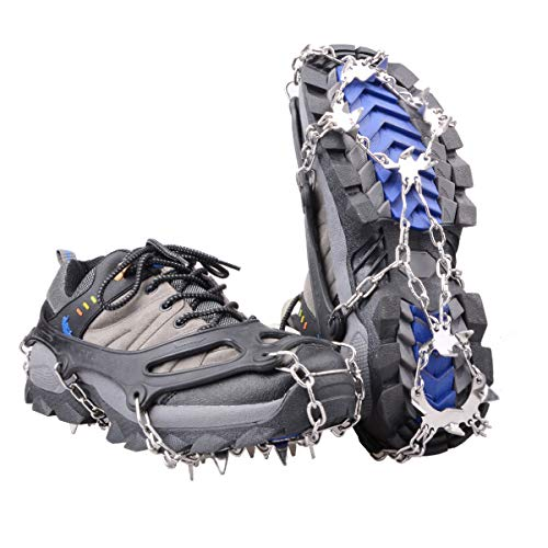 Gripper Cleat - Azarxis Walk Traction Ice Snow Cleat Treads Grips Grippers Crampons Creepers with 19 Spikes for Shoes Boots Men Women Walking Climbing Hiking Fishing Heavy Duty Anti Slip Stainless Steel (Black, XL)