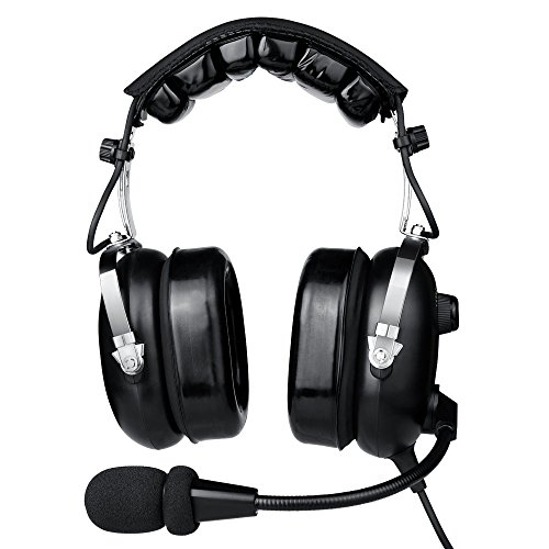 Aviation Headset for Pilots, Aviation Headset with Comfortable Ear Seals, 24db Noise Cancelling, MP3 Support and Carrying Case ()