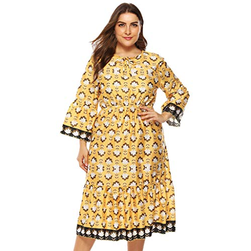 Succper Womens Long Kimono Sleeve Printed V-Neck Floral Casual Gown Maxi Dress Autumn Skirt Yellow