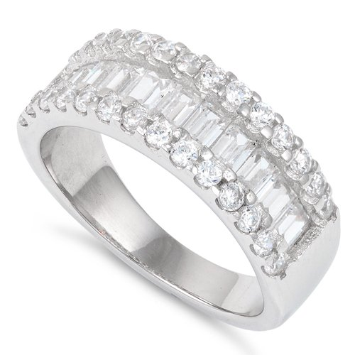 Sterling Silver Baguette Cut Simulated Diamond Ring - Size 10