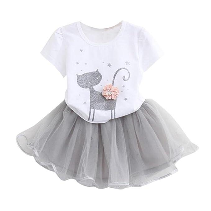 Yannerr Niños niñas moda dibujos animados pequeño gatito impreso Vestido de  camisa conjunto (90 4463291c0ebd
