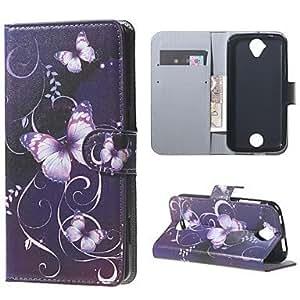 Billetera mariposa caso del soporte de cuero púrpura para Z330 Z320 líquidos acer