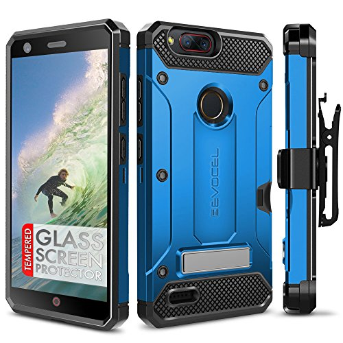 ZTE Blade Z Max Case, Evocel [Explorer Series Pro] Premium Dual Layer Credit Card Case with Glass Screen Protector & Magnetic Kickstand for ZTE Sequoia/ZTE Blade ZMax (Z982), Blue (Zte Zmax Credit Card Phone Case)