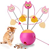 JUOIFIP Interactive Cat Toy Automatic Spinning Cat Toy Ball 3 In 1 Multifunctional Ball Tumbler with Chaser Light and Food Dispenser for Cat & Kitten(Pink)