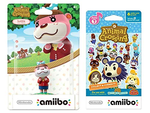 Lottie Amiibo (Animal Crossing Series) for Nintendo Switch - WiiU, 3DS Bonus 1-Pack (6 Cards/Pack) (Bundle) (Mario And Sonic At The Olympic Games Characters)