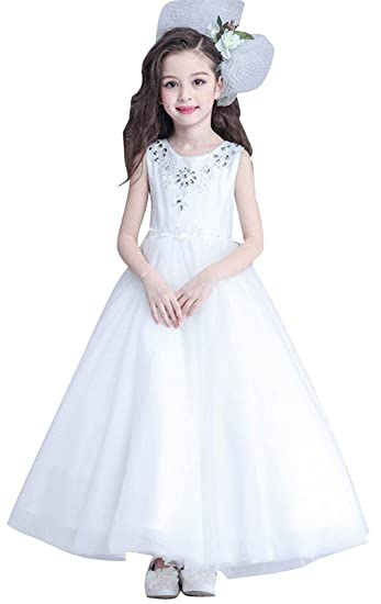 390bfbd1758 Jeansian Kids Girls Diamond Sleeveless Formal Wedding Party Bridesmaid  Toddler Princess Fairy Show Dresses CH050 White