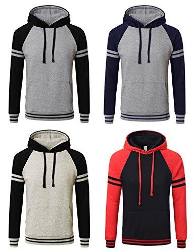 JD Apaprel Mens Premium Heavyweight Two-Tone Raglan Pullover Hoodie Sweatshirts