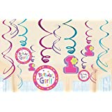 1st Birthday Girl 'Hugs and Stitches' Hanging Swirl Decorations (12pc)