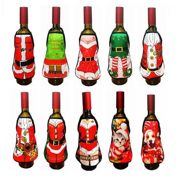 Bar Tools & Accessories - Small Apron Bottle Wine Cover Christmas Sexy Lady Dog Pinafore Red Wine Bottle Wrapper Holiday Bottle Clothes Dress - Bottle Sweater - Wine Covers For Bottles - 1PCs