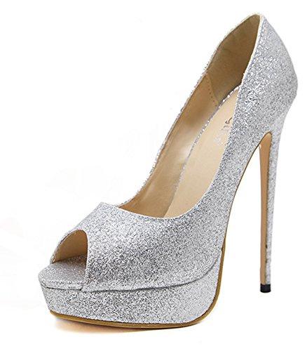 Paillette Glitzer Damen Silber Toe Aisun Abendschuhe Top Sandale Peep Stiletto Low Plateau E4qAA5xU