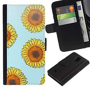 Be Good Phone Accessory // Caso del tirón Billetera de Cuero Titular de la tarjeta Carcasa Funda de Protección para Samsung Galaxy S5 Mini, SM-G800, NOT S5 REGULAR! // sunflower blue yellow floral pattern