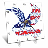 3dRose Alexis Design - America - Silhouette of a bald eagle in flight and the American flag on white - 6x6 Desk Clock (dc_276087_1)