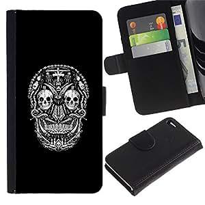 Be-Star la tarjeta de Crédito Slots PU Funda de cuero Monedero caso cubierta de piel Para Apple Iphone 4 / 4S ( Black White Skull Death Pattern )