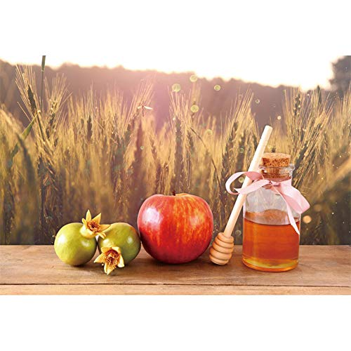 CSFOTO 5x3ft Rosh Hashanah Backdrop Jewish New Year Party Photography Background The Feast of Trumpets Celebration Decor Autumn Harvest Wheat Pomegranate Apple Honey Jewish Holiday Photos