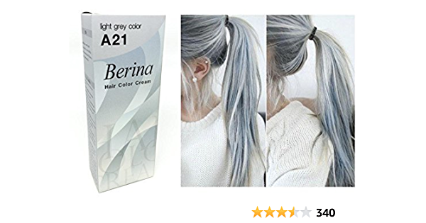 Berina A21 luz gris plata permanente pelo color crema Unisex – Punk estilo