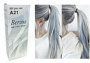 Amazon Com Berina A21 Light Grey Silver Permanent Hair Dye Color