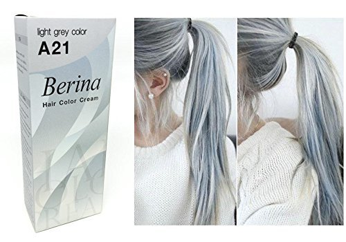 Berina A21 Light Grey Silver Permanent Hair Dye Color Cream Unisex - Punk Style (Best Permanent Silver Hair Dye)