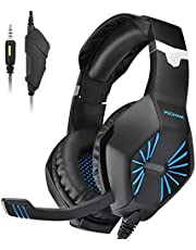 PECHAM PS4 Gaming Headset, Xbox one Headset with Mic for PS4, PC, Laptop, Smart phone, Nintendo Switch Noise Reduction Easy Volume Control (3.5MM Stereo Y Audio Splitter Included)